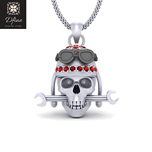 Amazon Com Solid 18k White Gold Mechanical Skull Pendant Necklace