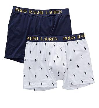 ef5d8956eca29 Polo Ralph Lauren Men s Cotton Comfort Blend 2 Pouch Boxer Briefs All Over  Pony Print White
