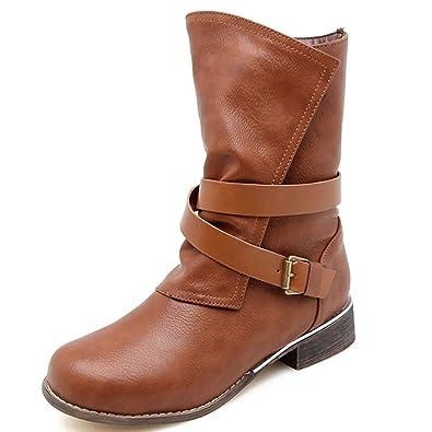 DoraTasia - Botas Mocasines de Cuero Mujer: Amazon.es: Zapatos y complementos
