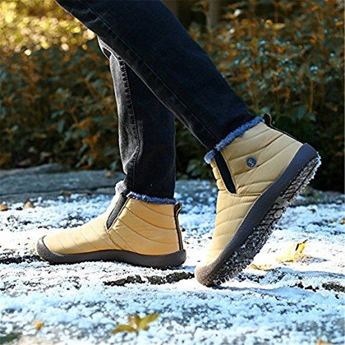 neige d'hiver Auspicious à résistant jaune plein de l'eau Chaussures beginning fausse femmes doublées air pour haut hommes et Bottines fourrure Col en en g44qP8