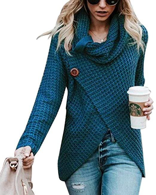 Minetom Mujer Moda Suéter Largo Casual Jersey Prendas de Punto Mangas Largas Oversize Camiseta Jumper Tops Otoño Invierno Cuello Alto Botón Pullover: ...