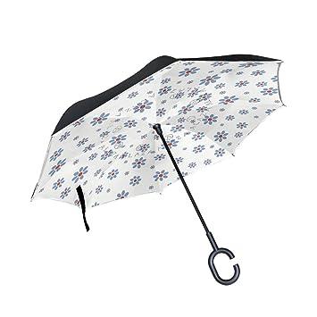 MAILIM - Paraguas Reversible para Coche, Diseño Vintage con Patrón Floral, Doble Capa,