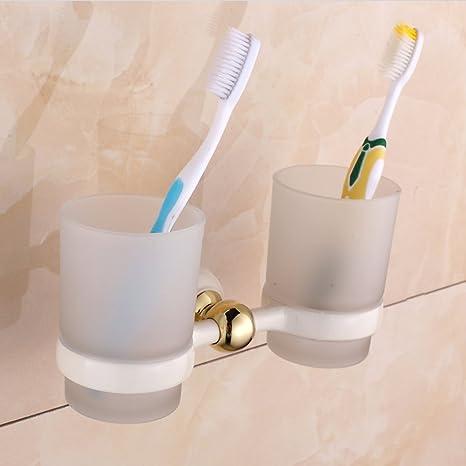 pintura blanca a la plancha de oro cepillo de dientes portavasos/taza de doble taza