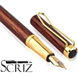 "SCRIZ ®""Crown Collection"" Marble Finish Body Brown - Gold With Gold Plated Cap Clip & Germany Iridium Nib Fountain Ink Pen (SZ-0127)"