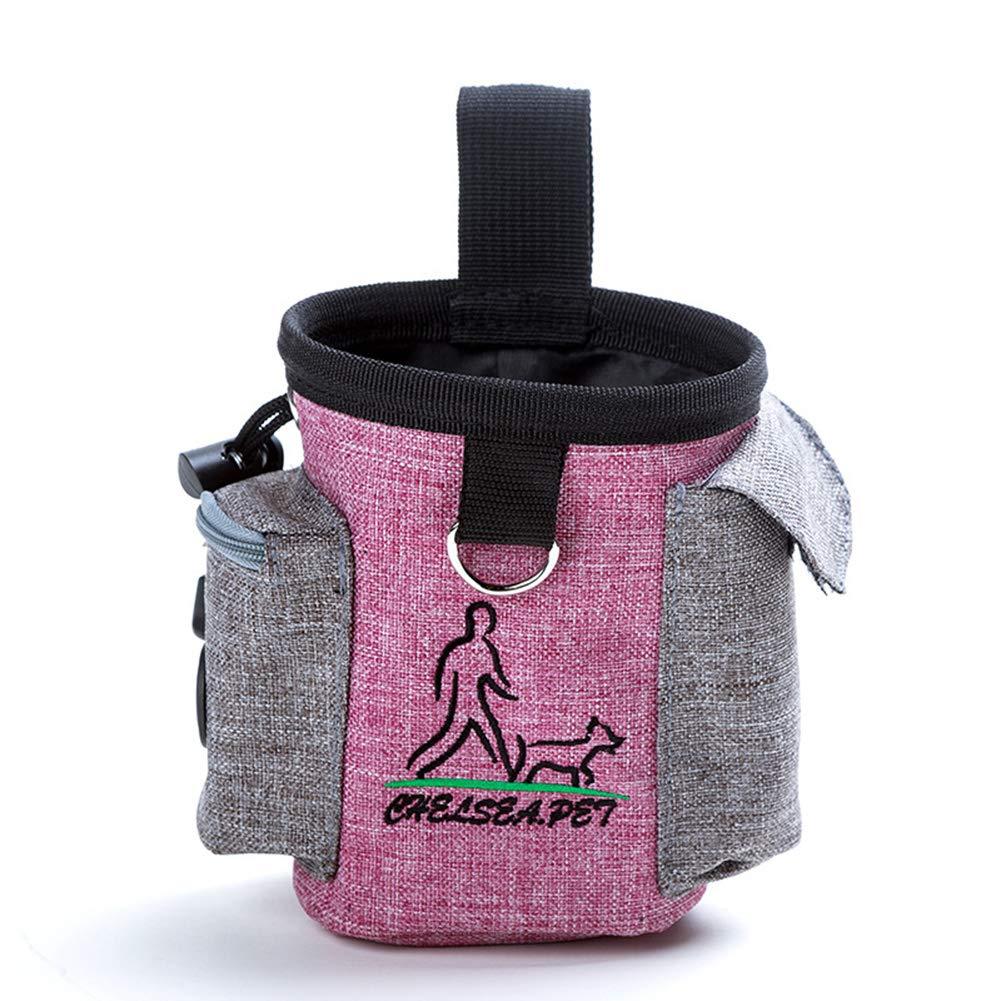 Lightpink Dog Training Walking Bag with Poop Bag & Adjustable Belt and Shoulder Strap BagBuild-in Waste Bag Dispenser Travel or Outdoor UseDog Training Walking Bag