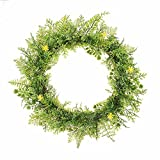 FAVOWREATH 2018 Vitality Series FAVO-W06 Handmade 11 inch Green Grass Wild Flowers Fall Grapevine Wreath For Summer Front Door/Wall/Fireplace Floral Hanger Laurel/Eucalyptus Leaf Home Decor