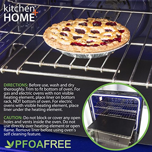 Kitchen + Home Oven Liner Set of 2 – Large Heavy Duty 100% PFOA & BPA Free – FDA Approved Non-stick Reusable Oven Liner for Gas, Electric & Microwave Ovens – Works as Baking Mat & Grill Mat by Kitchen + Home (Image #6)