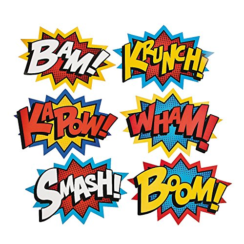Deco Pop Art - Cardboard Jumbo Superhero Word Cutouts (size: 26