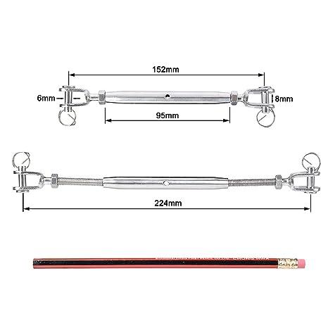 IMAGINE 1pc M6 Tendeurs de corde en acier inoxydable 304 r/églable Tendeur de fil pour c/âble m/étallique Tendeur Fil ropetension 1pc M6 Jaw /& Jaw