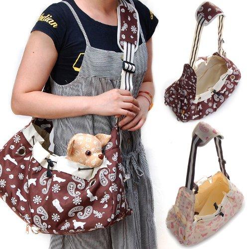Foldable Canvas Shoulder Bag Sling Pet Carrier (Pink), My Pet Supplies