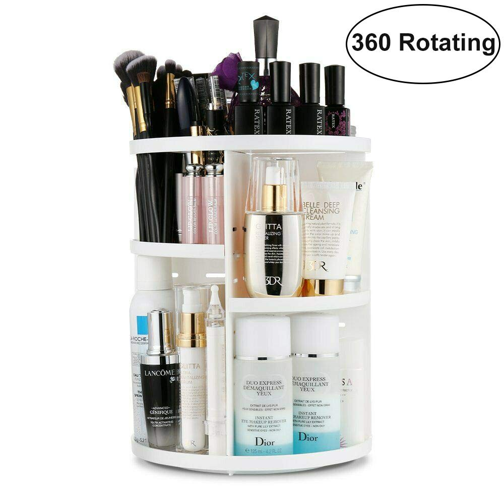 360 Rotating Makeup Organizer, Makeup Holder Storage Carousel Spinning Rack Cosmetic Display Case Organizer Box 7 Layers Adjustable DIY Makeup Caddy Shelf Large Capacity for Countertop Bathroom, White