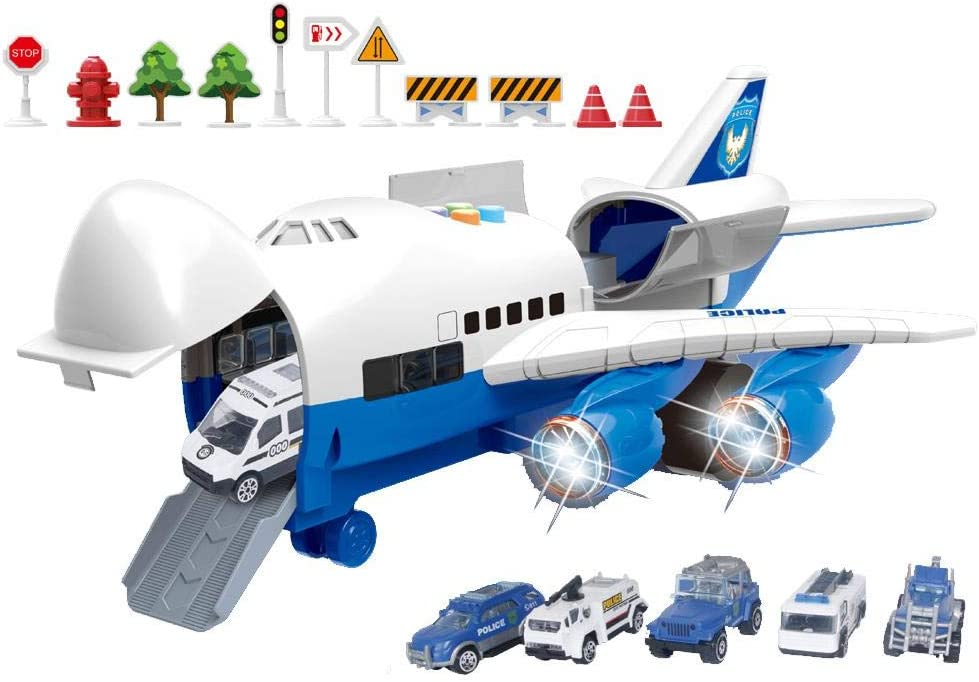 Sliding Airliner Set Model Music Track Inertia Simulation Aircraft Model Toy Passenger Machine Toy Boy Gift Fire Police Car,Engineering Car Scene Game Aircraft Toy Car Set