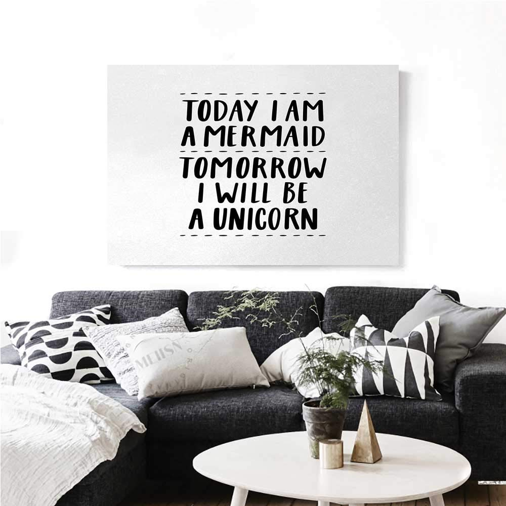 """homehot Im Mermaid Canvas Print Wall Art Quote in Favor of Optimistic Outlook Towards Life Changing Attitudes Slogan Artwork for Wall Decor 24""""x20"""" Black White"""