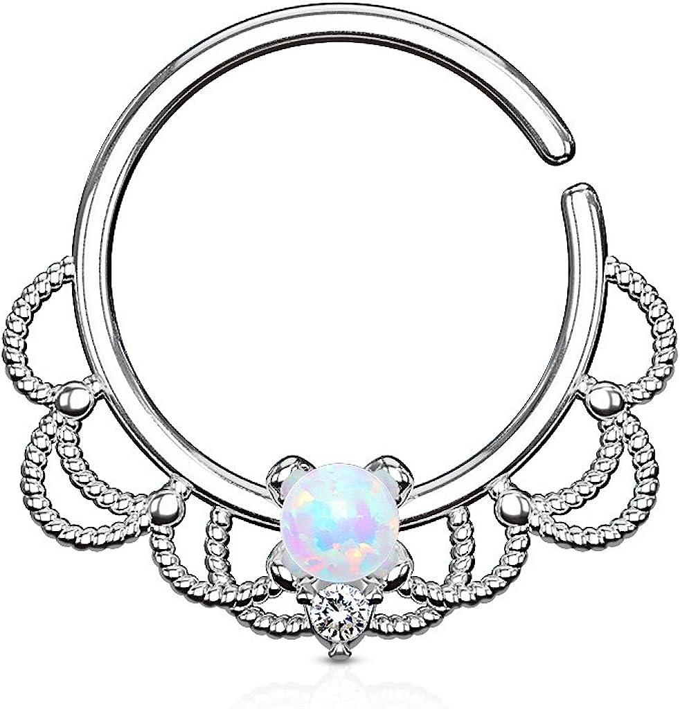 Opal Set Centered Filigree Bendable WildKlass Hoop Rings for Nose Septum Daith and Ear Cartialge