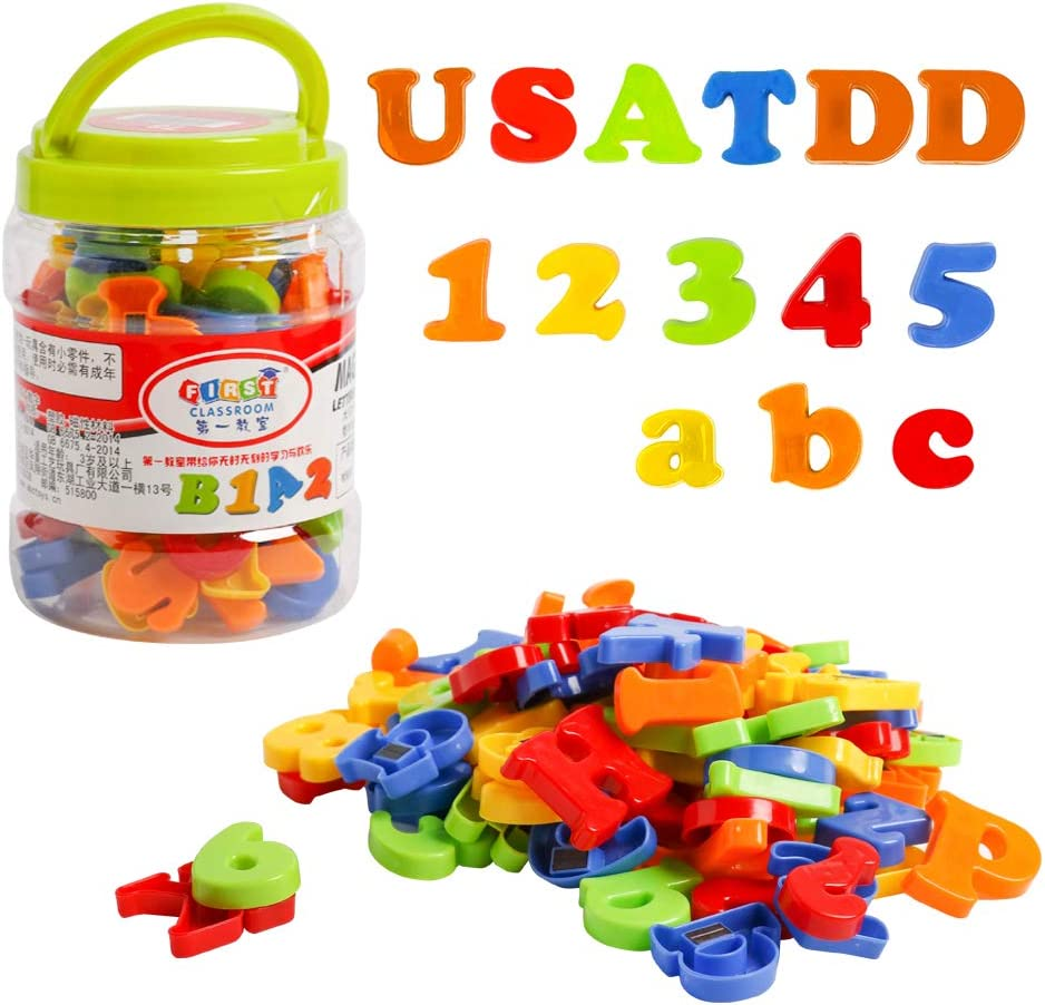 USATDD Magnetic Letters Numbers Alphabet Fridge Magnets Colorful Class ABC 123 Educational Toy Set Preschool Learning Spelling Counting Include Uppercase Lowercase Math Symbols for Toddlers (78 Pcs)