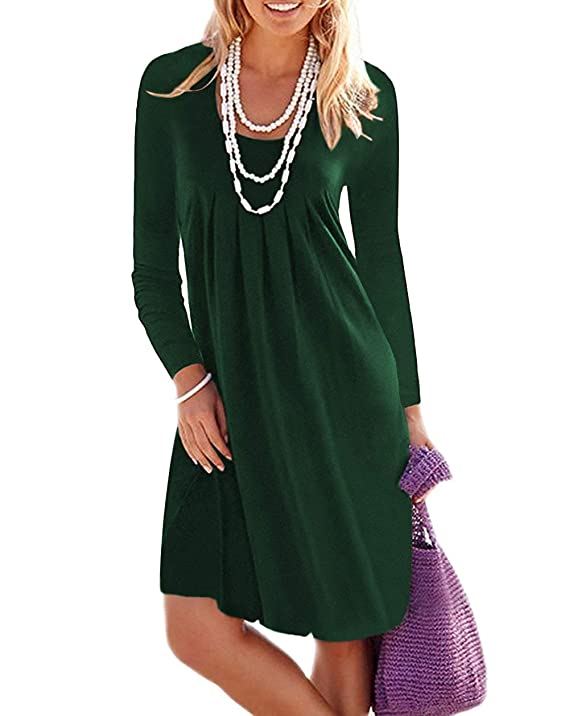 Jouica Womens Fall Casual Long Sleeve Mini Dresses with Pockets Dark Green M long-sleeved dresses