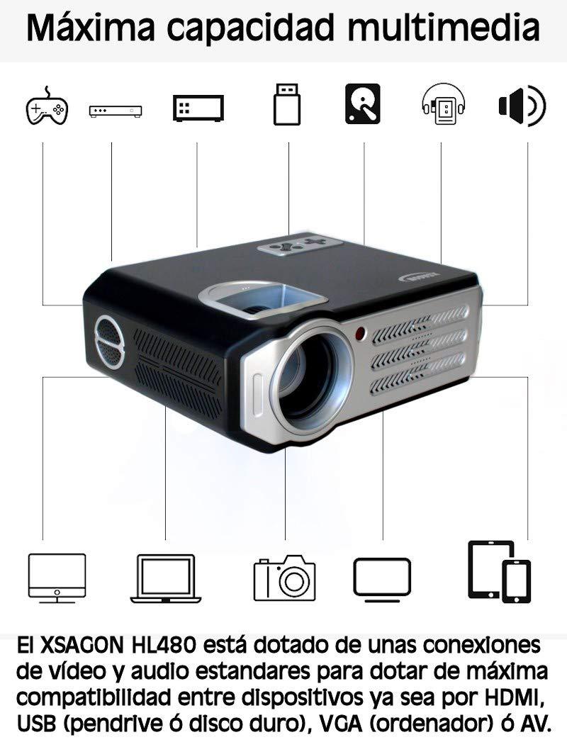 Proyector Black Friday Full HD 1080P, XSAGON (Nueva Version 2019) Proyectores 3500 LED Lúmenes Portátil Proyectores LED, LCD 1920x1080, 2 HDMI, VGA, 2 USB, ...