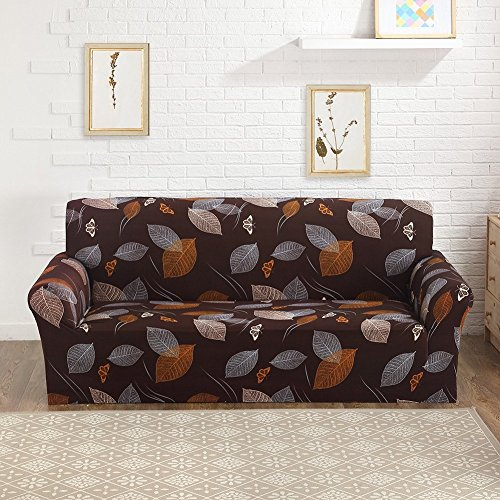 ELEOPTION Stretch Fabric Sofa Slipcover 1 2 3 4 Piece, Elastic Sectional Sofa Cover Slipcover Protector Couch Pure Color For Moving Furniture Living Room (Brown-Leave, Two seater(55''-70'')) - Fabric Two Seater
