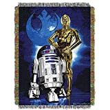 1 Piece 48'' x 60'' Blue Star Wars Theme Throw Blanket, Storm Trooper Darth Vader C-3PO Movie Characters Space Galaxy Light Saber TIE Fighter Millennium Falcon Drones Jedi R2-D2 Droids , Polyester