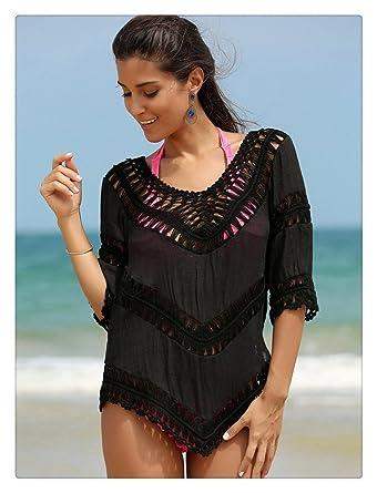 7bb33dbe454a Kuss Online Women s Swimsuit Cover up - Crochet V-Neck Tassel Plus Size