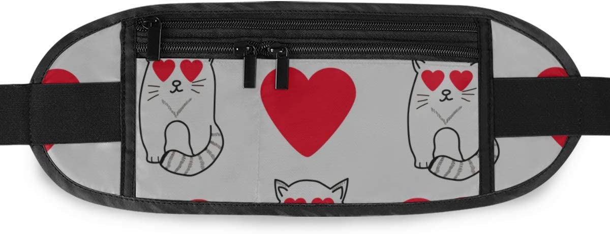 Travel Waist Pack,travel Pocket With Adjustable Belt Pattern Cute Cats Hearts Running Lumbar Pack For Travel Outdoor Sports Walking