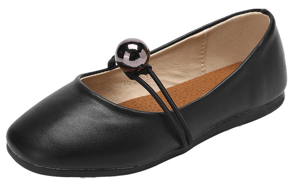 InStar Girls' Casual Beaded Round Toe Low Cut Slip on Elastic Flats Pumps Shoes Black 12.5 M US Little Kid