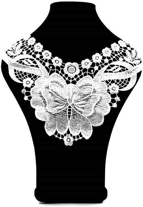 Black Fabric Embellishment Venice Lace Trim Flower Polyester Collar Applique