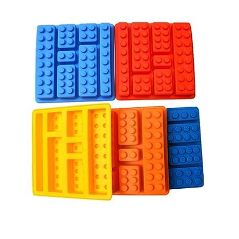 Molde rectangular de silicona con Compatible Conma de ladrillo de Lego; es el utensilio perfecto