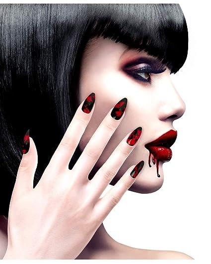 90404bcda Horror-Shop Uñas Negras con Salpicadura De Sangre 12 Pzs.: Amazon.es ...