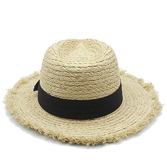 Sombrero Unisex Sombrero De Paja Rafia 100% Mujer De Hombre ala Ancha Ner Especial  Estilo Sombrero para El Sol Sombrero De Verano De Panamá Sombrero para El  ... 44ab7ae5473
