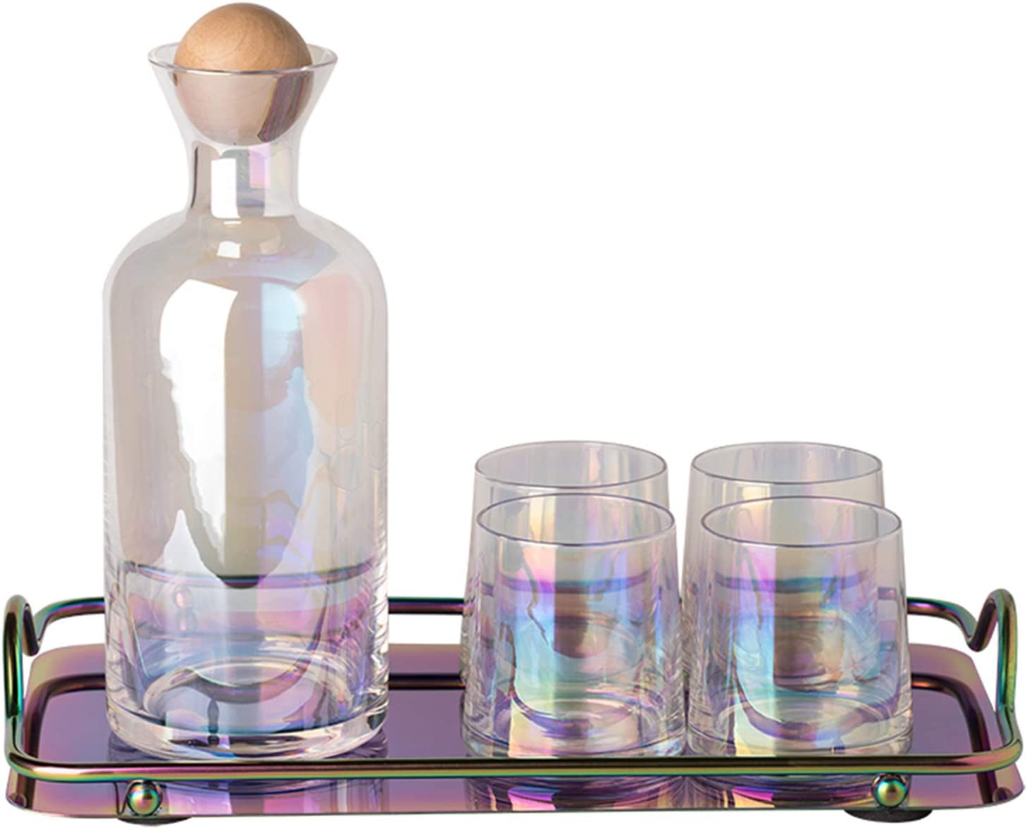 XJAXY 8.45 Ounce Glass Water Tumbler, Set of 4, with A Big Water Bottle and Serving Tray, Reusable Cups, Unbreakable Glasses