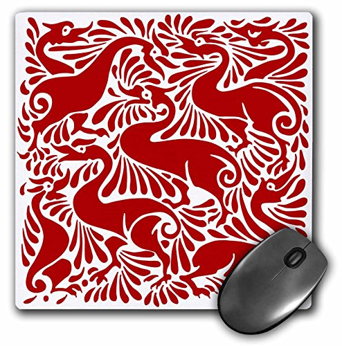 3dRose Russ Billington Designs - Quirky Red and White Victorian Ducks Splashing - Mousepad (mp_220845_1)