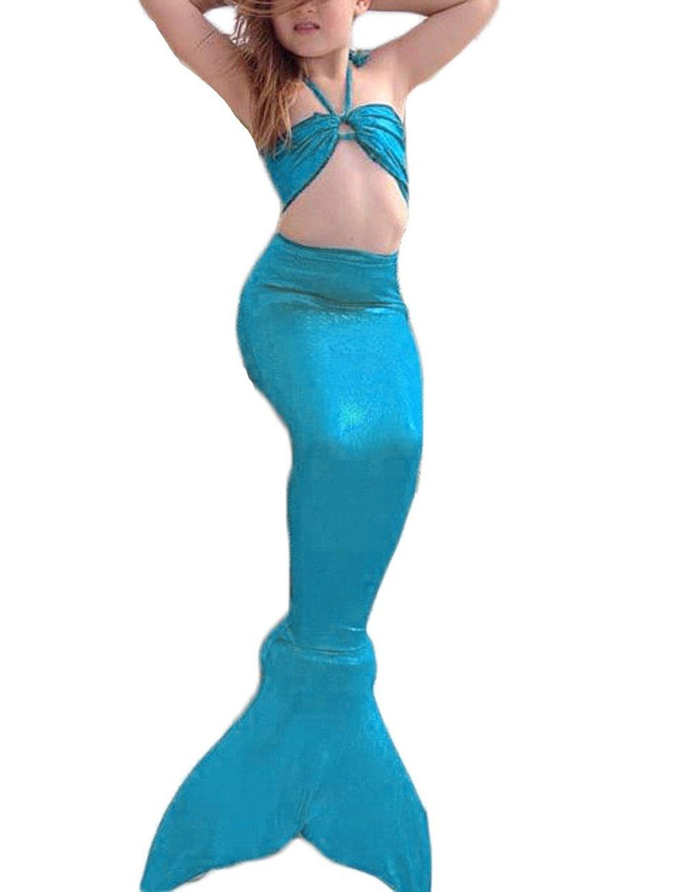 LBXX 3Pcs Mermaid Tail for Girls Swimming Swimsuits Princess Bikini Set for Toddler Big Girls Birthday Gift,3-14 Years