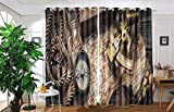vanfan 2 Panel Set Digital Printed Blackout Window Curtains for Bedroom Living Room Dining Room Kids Youth Room Window Drapes(W54''x L108'', vintage still life with compass,sex)