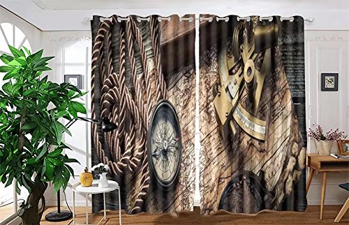 vanfan 2 Panel Set Digital Printed Blackout Window Curtains for Bedroom Living Room Dining Room Kids Youth Room Window Drapes(W54 x L108, vintage still life with compass,sex) by vanfan