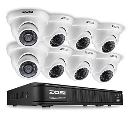 ZOSI 720p Dome Camera System for Home,1080N Security DVR 8 Channel and (8)  720p CCTV Dome Camera Outdoor/Indoor with Day/Night Vision,Easy Remote