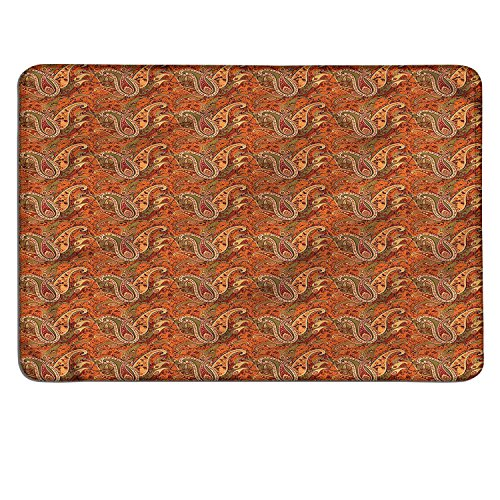 Orange small mouse pad Traditional Old Fashioned Paisley Pattern Floral Design with Leavescustomize mouse pad Orange Olive Green Redwood