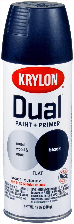 Krylon (K08831007-6 PK) Dual Flat Black Paint and Primer - 12 oz. Aerosol, (Case of 6)