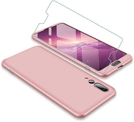 Joytag Funda Huawei P20 Pro 360 Grados Oro Rosa Ultra Delgado Todo Incluido Caja del teléfono