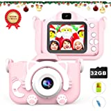 子供用カメラキッズカメラ男の子と女の子向けデュアルレンズ2.0インチIPSカラー大画面12.0MP / 1080P HD、デジタルビデオカメラミニビデオカメラかわいいおもちゃのカメラシリコンショックプルーフカバー32Gメモリカードバージョン2-14年の子供の誕生日ホリデーギフト