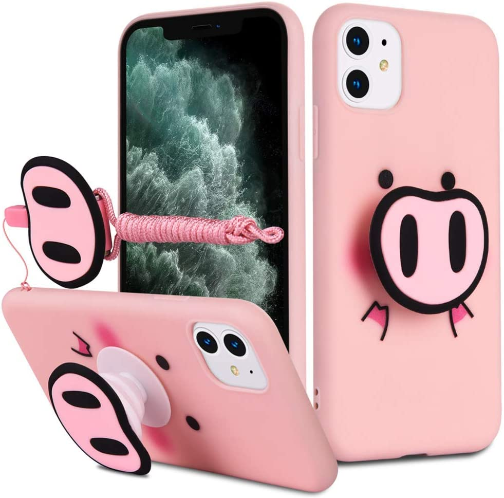 HikerClub iPhone 11 Case Pink Pig Cute 3D Cartoon Case with Airbag Holder Stand and Lanyard Soft TPU Ultra Thin Slim Shockproof Protection Case (Pink Pig, iPhone 11)