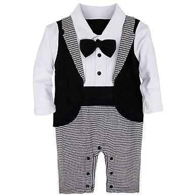 1a7e69b0512b5 iiniim Combinaison Smoking Bébé Garçon d honneur Gentleman Costume de  Cérémonie Baptême Mariage Barboteuse Manches