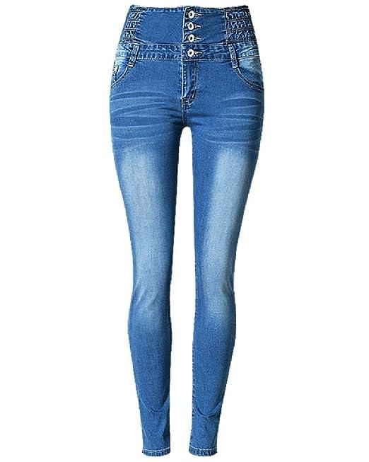 ZhuiKun Mujer Pantalones Elásticos Alta Cintura Skinny Slim Vaqueros Leggings Jeans