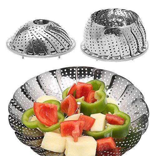 Basket Steamer Assembly (Vegetable Steamer, adier-life Premium Stainless Steel Foldable Vegetable Food Steamer Basket Fits Instant Pots for Vegetables, Seafood Cooking)