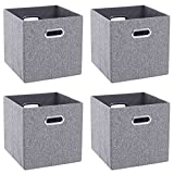BEWISHOME Foldable Cube Storage Bins, 4 Pack Fabric Storage Baskets with Durable Metal Handles for Women Men Children,Collapsible Storage Cubes for Bedroom, Home,Office,Closet, Gray YYL04H