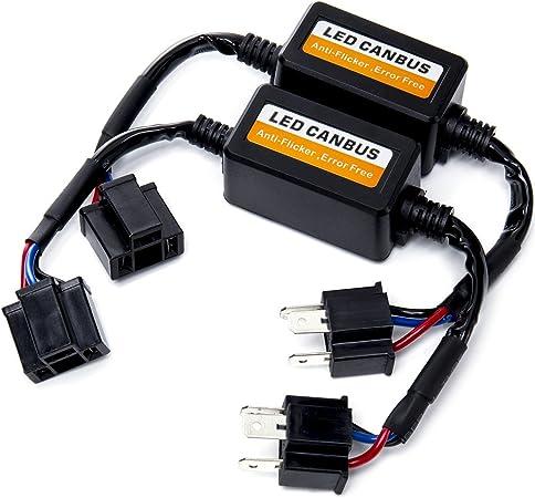 Fms H4 9003 Hb1 Led Decoder Scheinwerfer Canbus Warning Canceller Kondensator Fehler Lastwiderstand Plug Play Computer Anti Flicker 2 St Ck Auto
