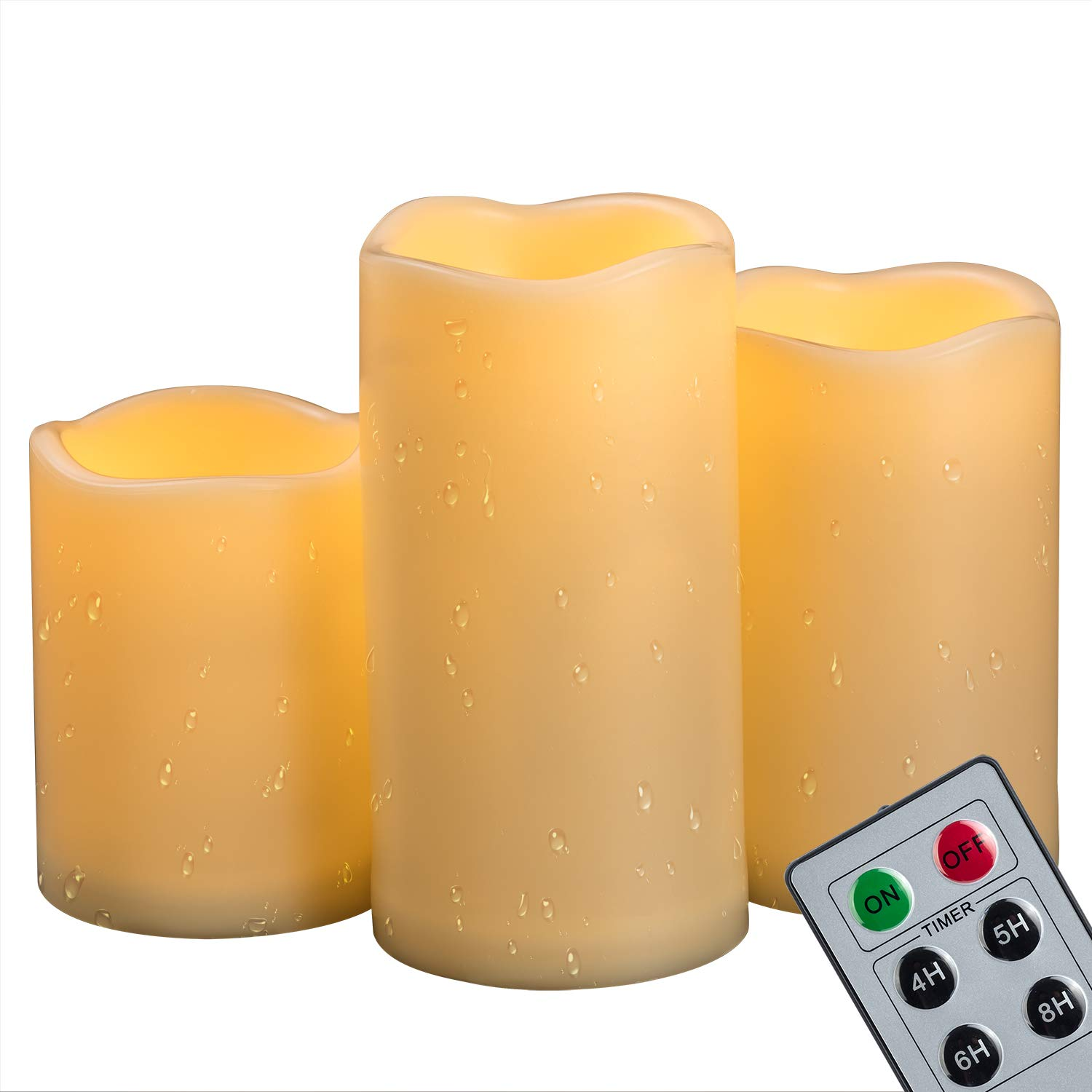 "4""5""6"" Outdoor Indoor Waterproof LED Pillar Candles with Remote & Timer/Large Battery Operated Flickering Flameless Plastic Fake Candles for Outside Patio Decorative Hanging Lantern Home Decor Set 3"