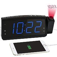 Radiowecker, Projektionswecker mit FM Radio, Dual-Alarms Digital Deckenuhr Nachtwecker mit USB-Ladeanschluss, Schlummern/Snooze Funktion