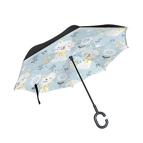 giovanior Cute blanco gatos flores patrón diseño doble capa paraguas recto paraguas del revés Reversible con