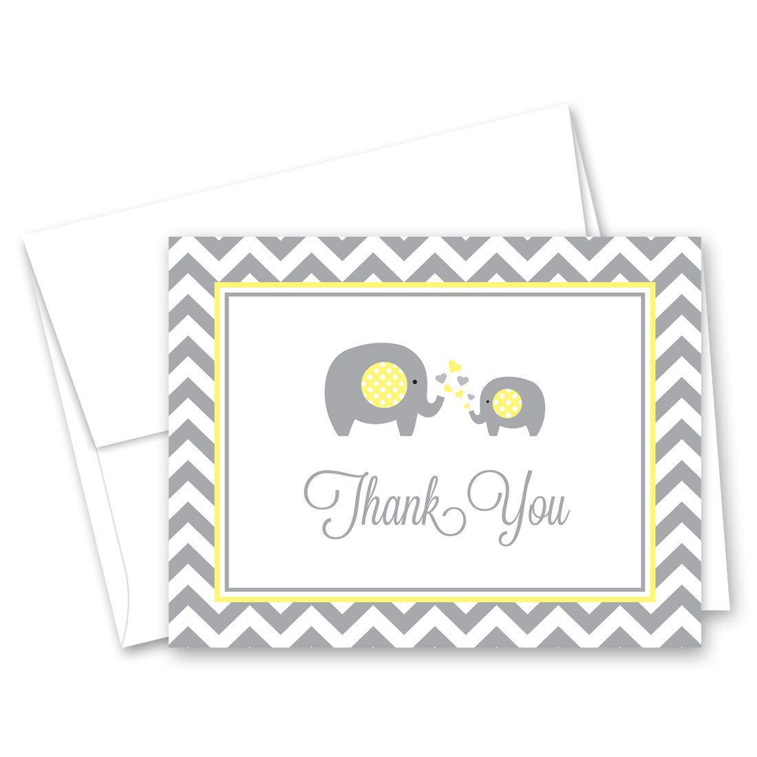MyExpression.com 50 Cnt Grey Yellow Chevron Elephant Baby Thank You Cards